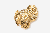 #326G - Left Facing Strutting Turkey 24K Gold Plated Pin