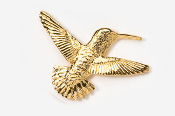 #349G - Right Flying Hummingbird 24K Gold Plated Pin