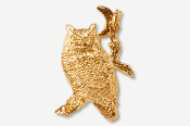 #360AG - Great Horned Owl & Moon 24K Gold Plated Pin