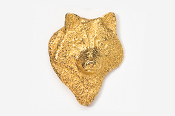 #429AG - Front Facing Wolf Head 24K Gold Plated Pin