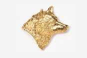 #429G - Right Facing Wolf Head 24K Gold Plated Pin