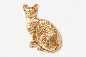 #439DG - Sitting Shorthair Cat 24K Gold Plated Pin