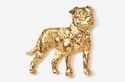 #463DG - American Bulldog 24K Gold Plated Pin