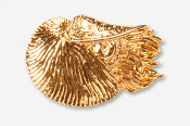 #549AG - Swimming Nautilus 24K Gold Plated Pin