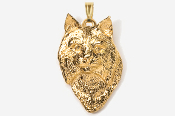 #P427G - Bobcat Head 24K Gold Plated Pendant