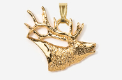#P434G - Elk Head 24K Gold Plated Pendant