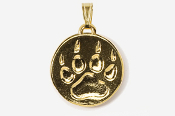 #P450FG - Paw Print 24K Gold Plated Pendant