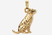 #P450G - Sitting Labrador Retriever 24K Gold Plated Pendant