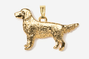 #P454G - Golden Retriever 24K Gold Plated Pendant
