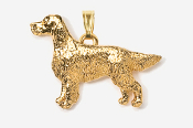 #P457AG - Irish Setter 24K Gold Plated Pendant