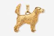 #P457EG - English Setter (with tail up) 24K Gold Plated Pendant