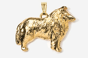 #P458CG - Collie 24K Gold Plated Pendant