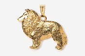 #P458G - Sheltie 24K Gold Plated Pendant