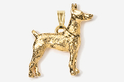 #P459G - Doberman 24K Gold Plated Pendant