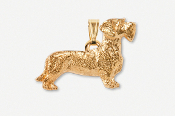 #P462BG - Wire Hair Dachshund 24K Gold Plated Pendant