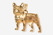 #P463FG - French Bulldog 24K Gold Plated Pendant