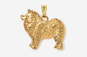 #P464BG - Samoyed 24K Gold Plated Pendant