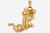 #P616G - Gecko 24K Gold Plated Pendant