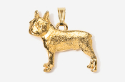 #P852G - Boston Terrier 24K Gold Plated Pendant