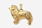 #P854G - Border Collie 24K Gold Plated Pendant