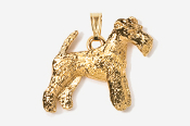 #P859AG - Wire Fox Terrier 24K Gold Plated Pendant