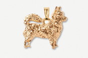 #P860AG - Long Hair Chihuahua 24K Gold Plated Pendant