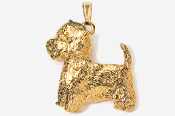 #P863G - Westie 24K Gold Plated Pendant