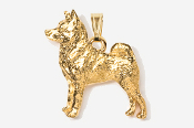 #P870BG - Norwegian Elkhound 24K Gold Plated Pendant