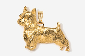 #P874G - Silky Terrier 24K Gold Plated Pendant
