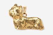 #P876G - Skye Terrier 24K Gold Plated Pendant