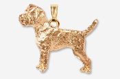 #P877BG - Border Terrier 24K Gold Plated Pendant