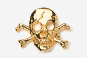 #801G - Skull and Cross Bones / Pirate Skull 24K Gold Plated Pin