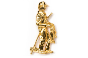 #911G - Bass Fisherman 24K Gold Plated Pin