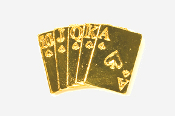 #710G - Royal Flush 24K Gold Plated Pin