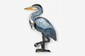 #345P - Great Blue Heron Hand Painted Pin