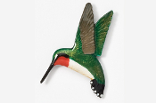 #350P - Left Flying Hummingbird Hand Painted Pin