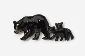 #405CP - Black Bear & Cubs Hand Painted Pin
