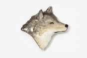 #429P - Right Facing Wolf Head Hand Painted Pin