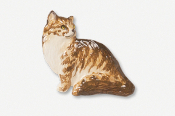 #439CP - Sitting Longhair Cat Hand Painted Pin