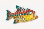 #175P-M - Bony Fish Hand Painted Pin
