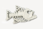 #175P-W - Bony Fish Hand Painted Pin