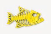 #175P-Y - Bony Fish Hand Painted Pin