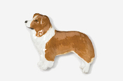 #854P-RW - Border Collie Hand Painted Pin