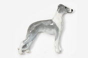 #453DP-BW - Whippet Hand Painted Pin