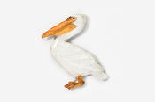 #342P-W - White Pelican Hand Painted Pin