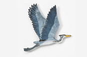 #345AP-B - Flying Great Blue Heron Hand Painted Pin