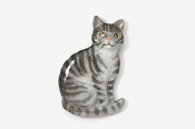 #439P-GT - Gray Tabby Sitting Cat Hand Painted Pin