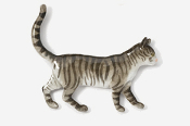 #438P-GT - Walking Gray Tabby Cat Hand Painted Pin