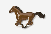 #443P-C - Galloping Chestnut Horse Hand Painted Pin
