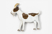 #448P-BRW - Brown & White Goat Hand Painted Pin
